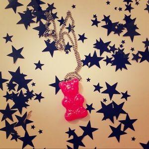 Jewelry - Pink glitter gummy bear pendant necklace